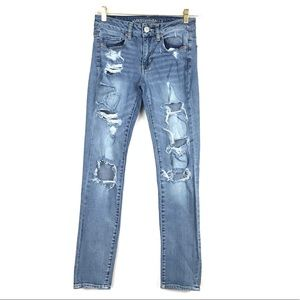 American Eagle Skinny Distressed Ripped Jeans 2